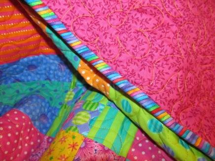 Binding of fuschia quilt