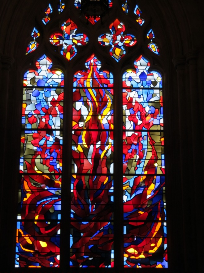 stained glass window in the National Cathedral in DC