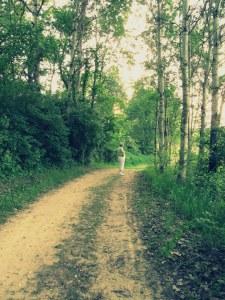 Mom on the prairie path