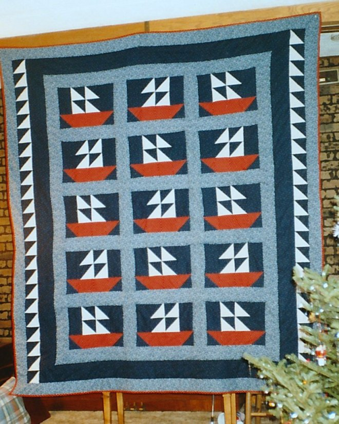Joel's sailboat quilt finished!