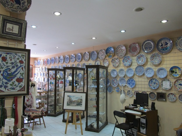 Some of the many blue and white plates in Galeri Z shop in Ankara, Turkey