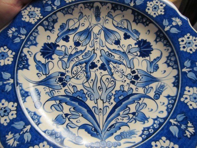 The Turkish blue and white plate my family got me several years ago.
