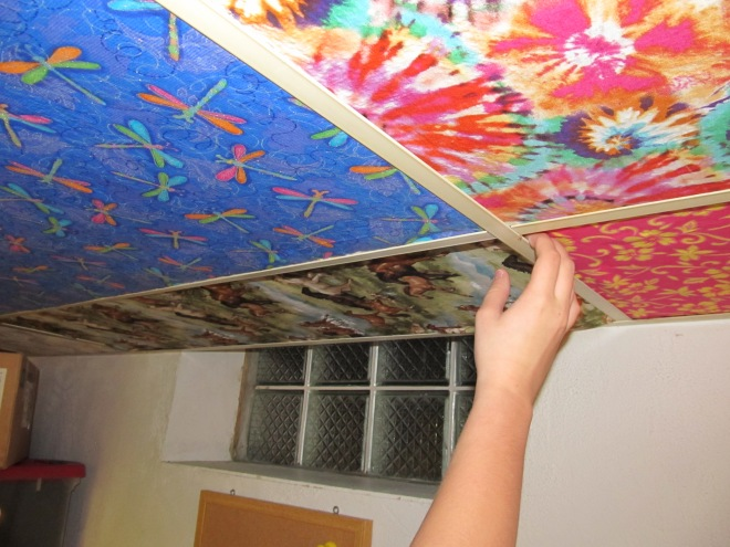 Tutorial Cover Ugly Ceiling Tiles With Fabric The