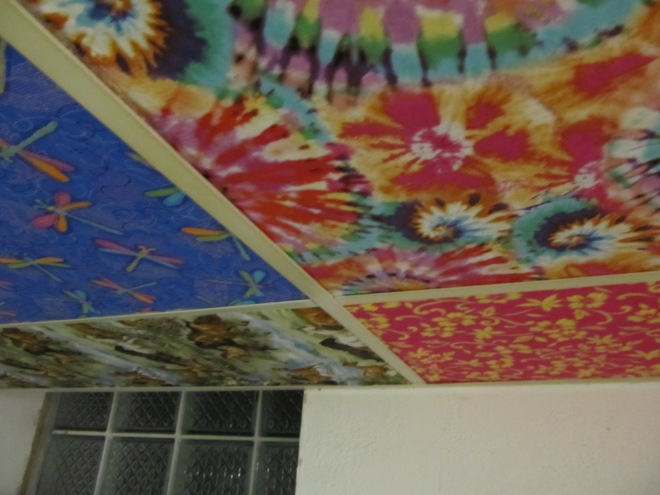 Ceiling tiles covered with fabric