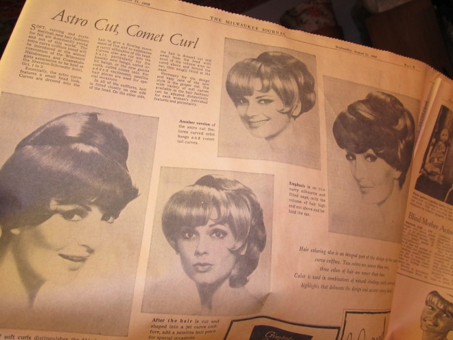 Astro Cut, Comet Curl: Curves are dressed into the hair to give a flowing movement of line and to emphasize a curvy silhouette of the head. Curves are also cut into the hair, particularly for the knacky new bangs, called orbit bangs or the new guiche curls, called comet tails. For added excitement satellite hairpieces are used for special occasions.