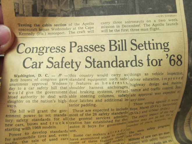 Congress Passes Bill Setting Car Safety Standards for '68