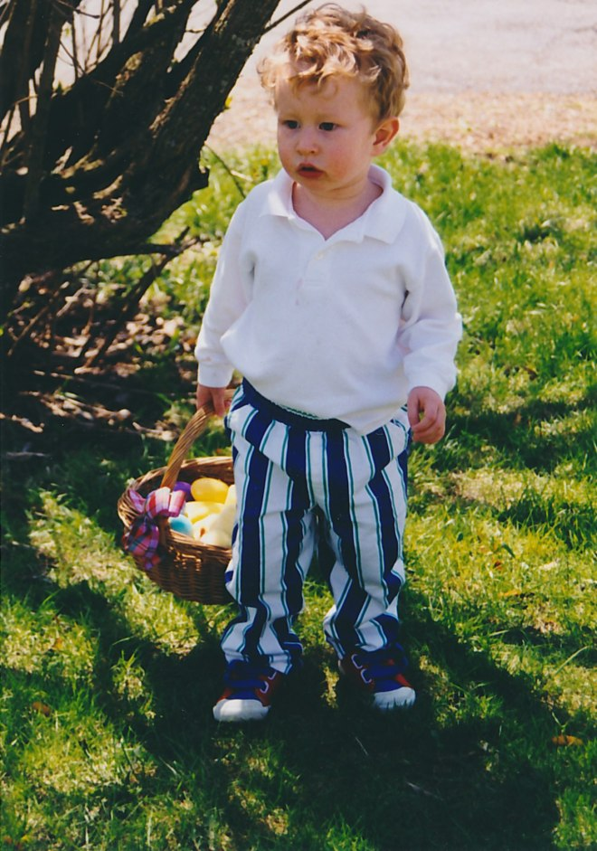 Easter egg hunting in the yard, Easter Sunday, 1998