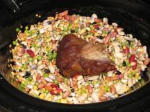 The bean mix (15 or 16 beans), pre-soaked and ready to cook. The ham hock is added and then the water, etc. Image by colleengreene via Flickr CC