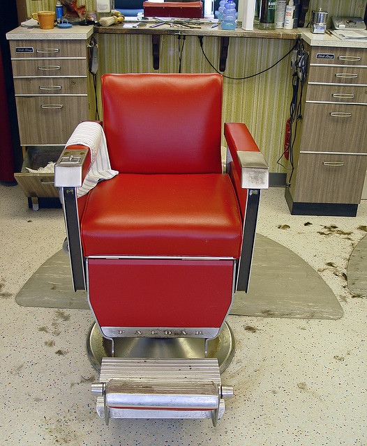 Barber Chair, image by Randy von Liski of Bob and Gale's Barber Shop in Springfield, IL via Flickr CC