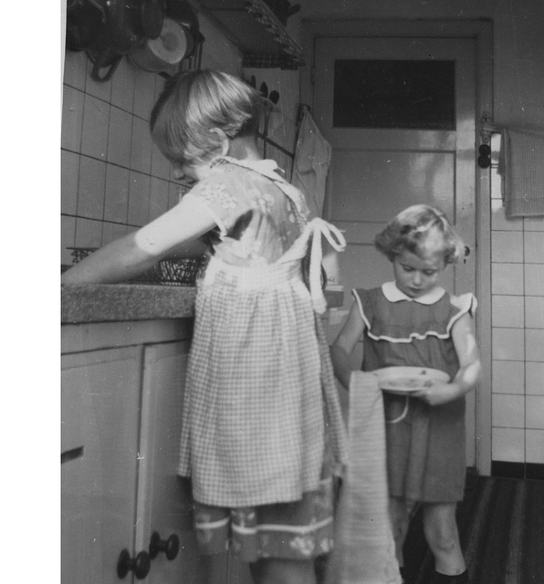 Flickr CC, image by Philip Howard: Childhood Chores.  Doing dishes.