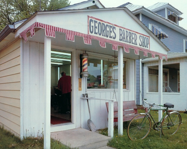 George's Barber Shop on SR 13 in N. Webster, IN.   Image from a 1991 calendar.