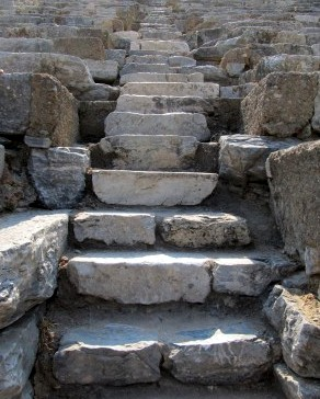 Patient attains all things. Stone steps in the arena at Ephesus in Turkey.  Image by The Tromp Queen, CC license.