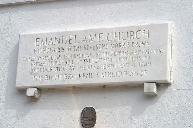 Emanuel AME Church, Charleston, South Carolina, Saturday, June 20, 2015. Image by jalexartis, via Flickr CC license