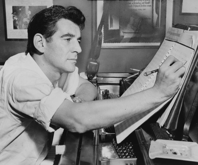Leonard Bernstein at the piano, wikipedia image