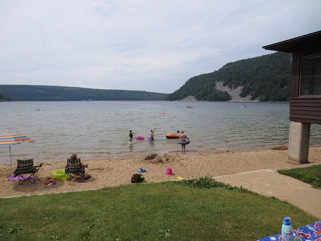 Image of Devil's Lake beach by anjanettew, via Flickr CC license.