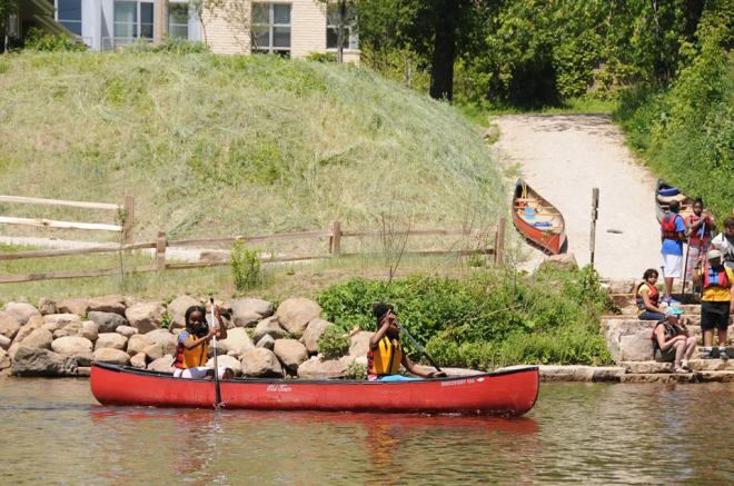 Riverwest Outdoor Educational Adventures photo, showing the Kiwanis Landing on the Milwaukee River via Facebook (public photo)