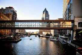 Image by tyle_r of skywalk over Milwaukee River, via Flickr CC license.